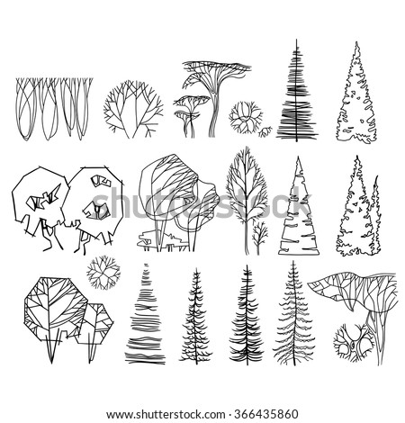 graphic trees easy to use for architecture drawings - Architecture Drawing Of Trees