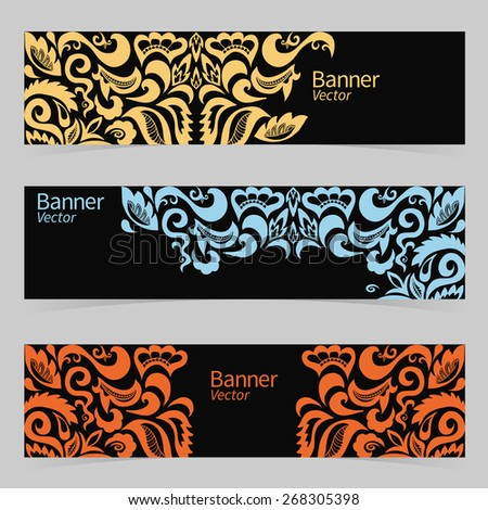 Graphic trendy banners set. Abstract header vector background. Retro label design. Geometric shapes, doodle cartoon card in vector. Ornamental floral and geometric pattern with place for your text. - stock vector