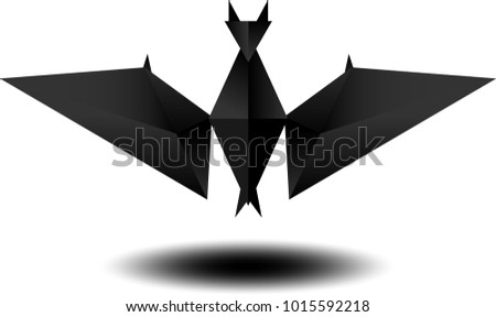 Graphic Triangle together in shape of Bat Abstract Art.