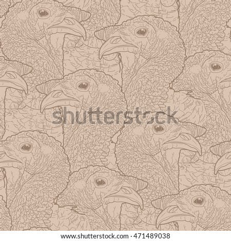 Graphic turkey heads drawn in line art style. Vector seamless pattern. Thanks giving day vector art