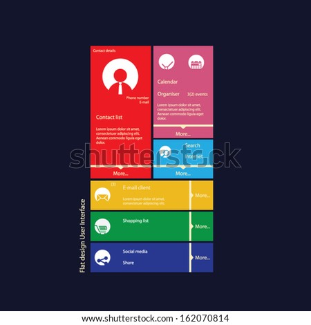 Graphic user interface flat design vector illustration with icons suitable for web design, tablet, smartphone user interface or infographics - stock vector