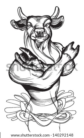 "Graphic Vector Image  of a Cool black and white  Bull Mascot  with Horns showing "" that rocks "" - stock vector"