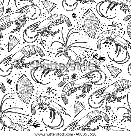Graphic vector shrimps with lemon slices drawn in line art style. Sea and ocean creatures isolated on white background. Seafood seamless pattern. Coloring book page design - stock vector