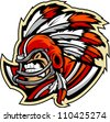 Graphic Vector Sports lllustration of a  Snarling American Football Indian Chief Mascot with Feathered Headdress on Football Helmet - stock