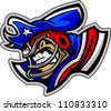 Graphic Vector Sports lllustration of a Snarling American Football Patriot Mascot with Hat on Football Helmet - stock vector