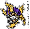 Graphic Vector Sports lllustration of a  Snarling American Football Viking Mascot with Horns on Football Helmet - stock vector