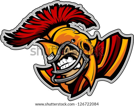 Graphic Vector Sports lmage of a  Snarling American Football Spartan with Football Helmet - stock vector