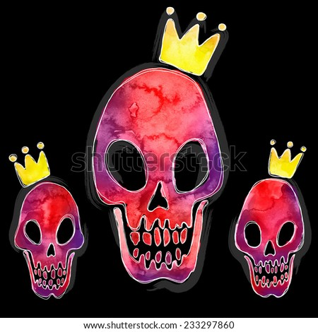 Graphic watercolor set of skull and crown - stock vector