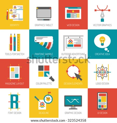 Graphic web and font design flat icons set isolated vector illustration - stock vector