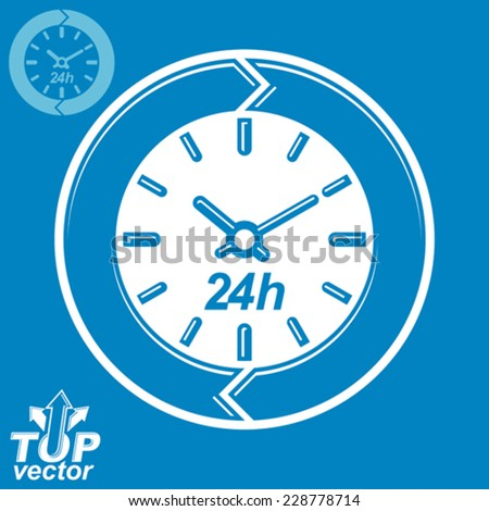 Graphic web vector 24 hours timer, around-the-clock flat pictogram. Day-and-night interface icon. Business time management illustration, invert version included. - stock vector
