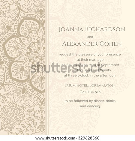 Graphic wedding invitation pattern la peacock stock vector 329628560 graphic wedding invitation with pattern a la peacock tail background in light brown colors stopboris Gallery