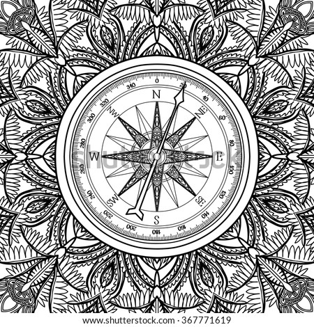 Graphic wind rose compass drawn line stock vector for Adult coloring pages nautical