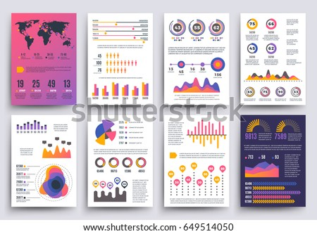 Graphical business report vector template with modern style charts and graphs
