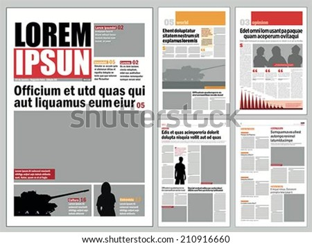 Graphical design newspaper template  - stock vector
