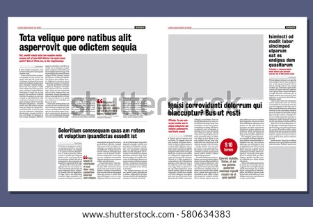 Graphical Design Newspaper Template Stock Vector 580634383