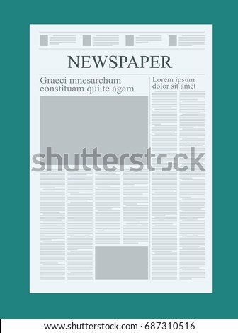 Graphical Design Newspaper Template Highlighting Figures Stock