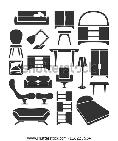 Graphical furniture set - stock vector