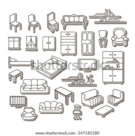 Graphical furniture set, contour icons. Isolated items. - stock vector