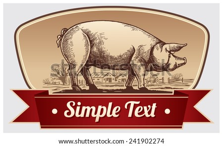 Graphical pig and rural landscape in a frame. - stock vector