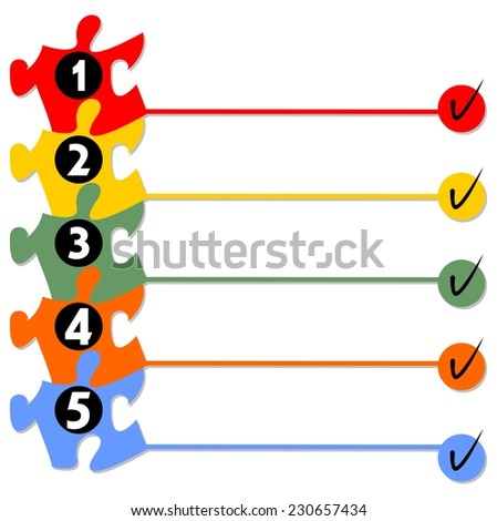 Graphical presentation of the working process in five steps with puzzle elements - stock vector