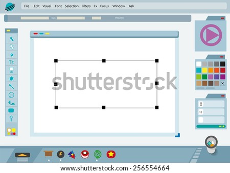 Graphical User Interface or GUI of an imagined Photo Editing Software or fictional version of a Graphic Design Application with widgets of an operating system. Flat Vector Eps10 illustration. - stock vector
