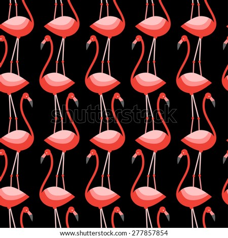 Graphically flamingo pattern - vector - stock vector