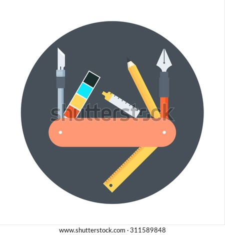 Graphics design tools flat style, colorful, vector icon for info graphics, websites, mobile and print media. - stock vector