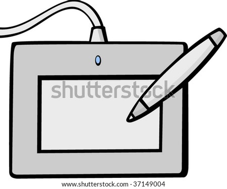 graphics tablet - stock vector