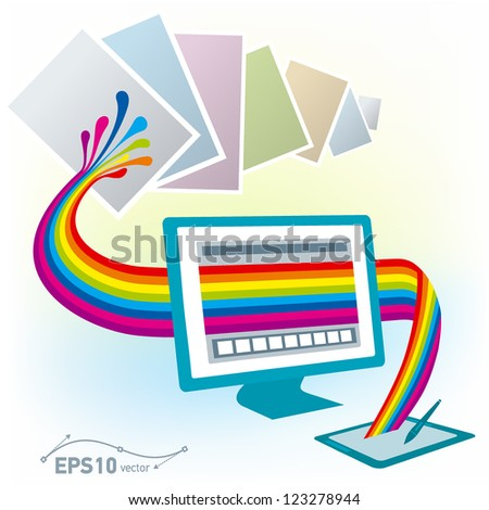 graphics tablet drawing design pc computer monitor print copy colorful blank / vector - stock vector