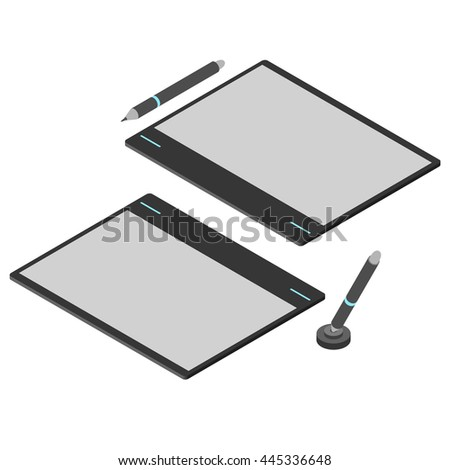 Graphics tablet. Flat isometric. Drawing tool for a computer. Pencil / stylus for digital painting. Vector illustration. - stock vector