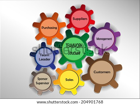 Graphics with teamwork motif with colored sprockets - stock vector