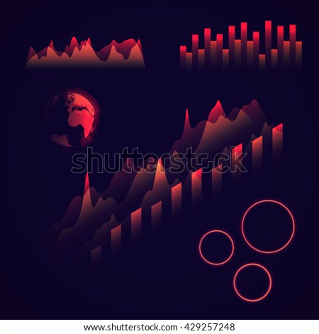Graphs and charts collection . Isometric colorful statistic , information graphs set constituents of infographic. Vector infographic . Abstract  earth globe . HUD style . Data science . - stock vector