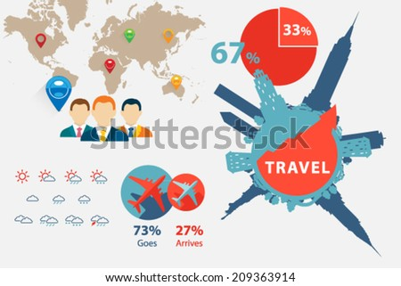 Graphs and charts for creating info-graphics. Vector templates. Flat design illustration. - stock vector