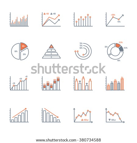 graphs and charts thin line icons set. data elements, bar and pie, diagrams for business infographics. visualization of data statistic and analytics. isolated on white background. vector illustration - stock vector