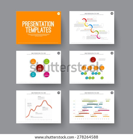 Graphs on slides - Vector Templates for presentation with charts and schema diagrams - stock vector