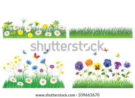 Grass And Flower Set.  Isolated On White Background, Vector Illustration - stock vector
