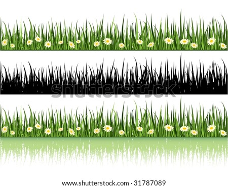 Grass and Flowers. Summer Time Vector.