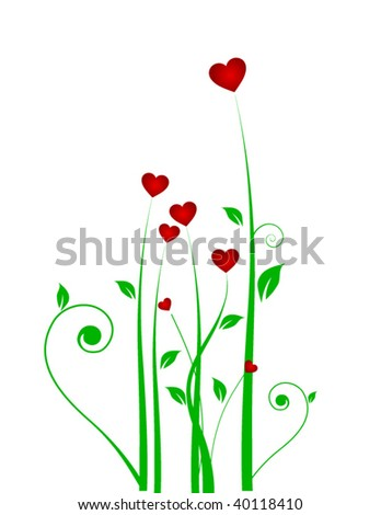 Grass and heart - stock vector