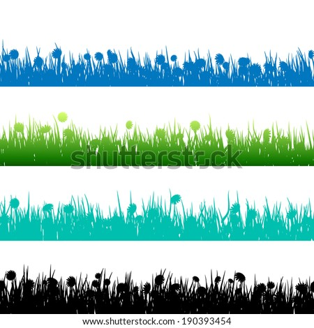 Grass and plants detailed silhouettes on white. And also includes EPS 10 vector - stock vector