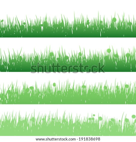 Grass and plants detailed silhouettes on white.  EPS 10 vector