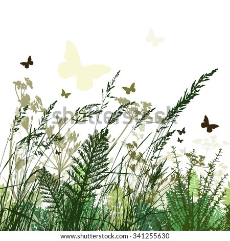 Grass background butterfly. Vector - stock vector