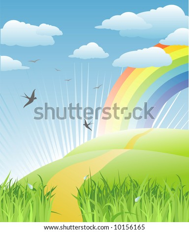 grass, birds and rainbow landscape / vector - stock vector