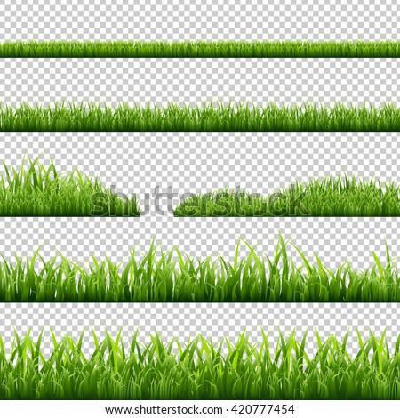 Grass Borders Set, Isolated on Transparent Background, Vector Illustration - stock vector