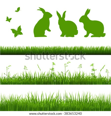 Grass Borders Set With Rabbits - stock vector