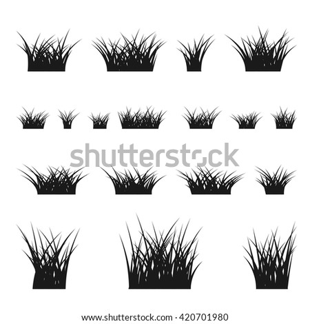 Grass bushes set. Nature plant background. Collection black silhouettes isolated on white. Elements for design environment. Vector illustration - stock vector