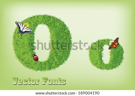 Grass font letter  - stock vector