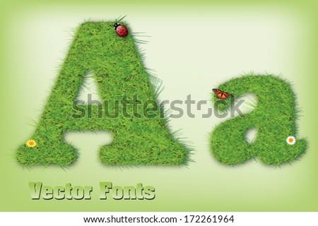 Grass font letter vector - stock vector
