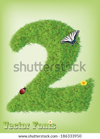 Grass font number 2 - stock vector