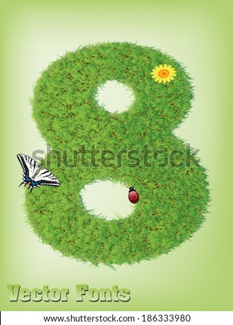Grass font number 8 - stock vector