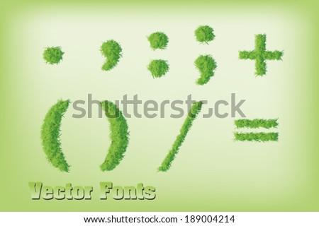 Grass font symbols - stock vector